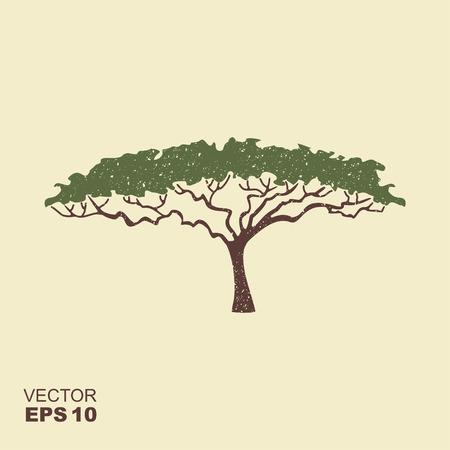 Acacia tree silhouette. Flat icon with scuffed effect Vektorgrafik