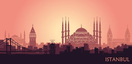 Landscape of the Turkish city of Istanbul. Abstract skyline with the main landmarks