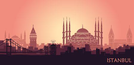 Landschaft der türkischen Stadt Istanbul. Abstrakte Skyline mit den wichtigsten Sehenswürdigkeiten