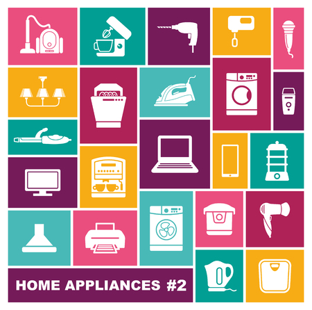 Home appliances icons in flat style. Vector illustration Illustration