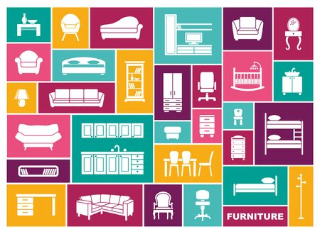 Icons of furniture and accessories for an interior. Vector illustration in flat style
