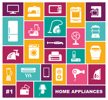 Home appliances icons in flat style. Vector illustration Banco de Imagens