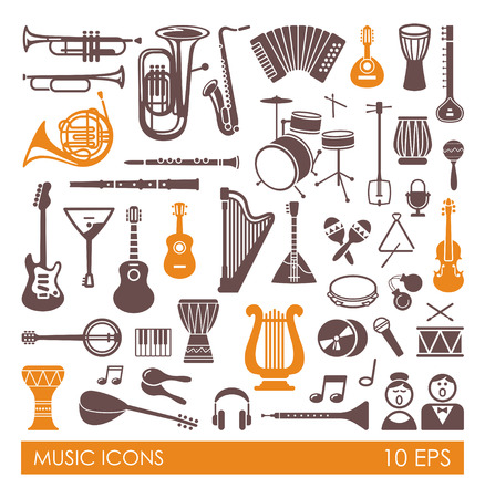 Silhouettes of musical instruments. Icon set in flat style