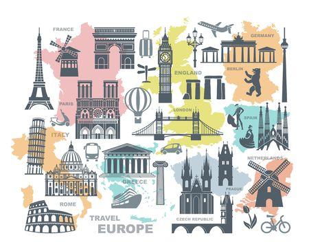 Sammlung von Europa detaillierte Silhouetten. Setzen Sie Reise-Orientierungspunkte. Vektorillustration