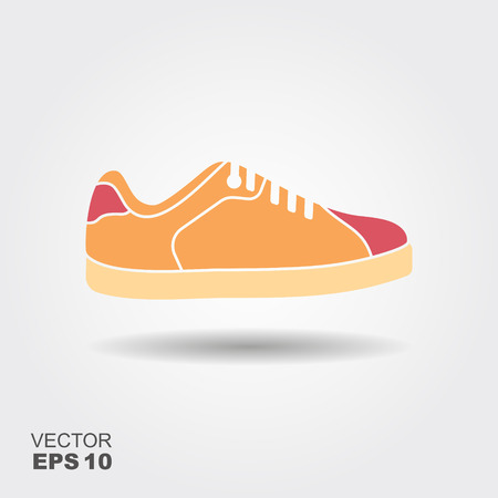 Sport shoes, sneakers icon. Flat illustration with shadow 向量圖像