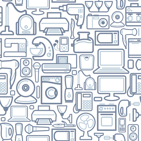 Seamless background of outline home appliances icons Illustration
