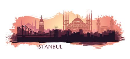 Landscape of the Turkish city of Istanbul. Abstract skyline with the main attractions Иллюстрация
