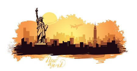 Stylized landscape of New York. Abstract skyline with spots and splashes of paint