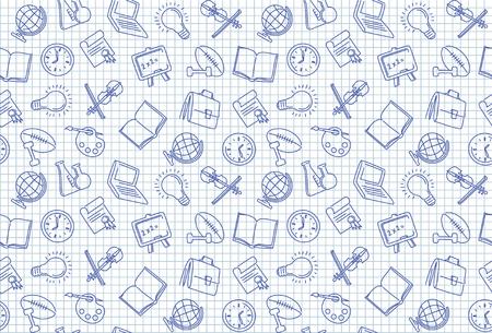 Bezszwowe tło z obrazami symboli szkolnych na kartce papieru w kratkę