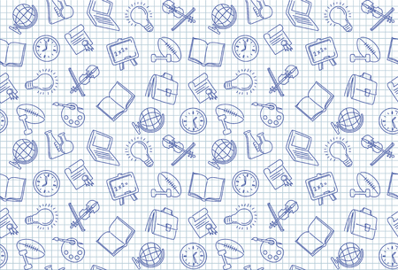 Seamless background with images of school symbols on a checkered sheet of paper