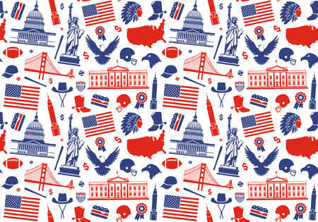 Seamless background with symbols of the USA Illustration