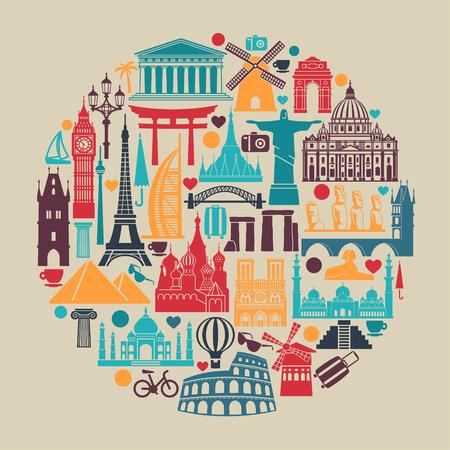 Símbolos de monumentos arquitectónicos y atracciones turísticas mundiales en forma de círculo.