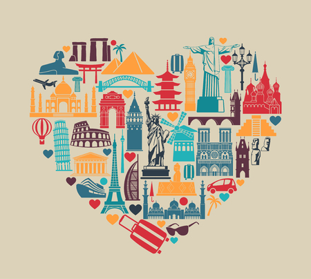 Symbols of architectural monuments and world tourist attractions in the shape of a heart Illustration