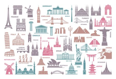 Icons world tourist attractions and architectural landmarks Illustration