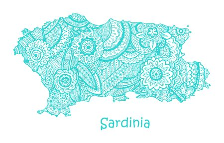 Textured vector map of Sardinia. Hand drawn ethno pattern, tribal background.