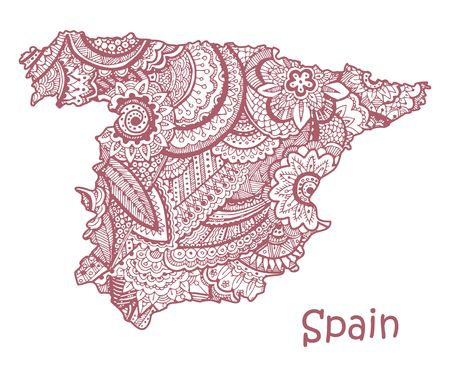 Textured vector map of Spain. Hand drawn ethno pattern, tribal background.