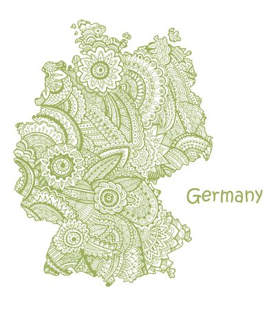Textured vector map of Germany. Hand drawn ethno pattern, tribal background.