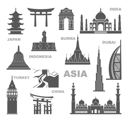 Sights and architectural monuments of Asia. Vector icon set
