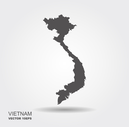 Vector map Vietnam . Isolated vector Illustration. Flat vector icon with shadow