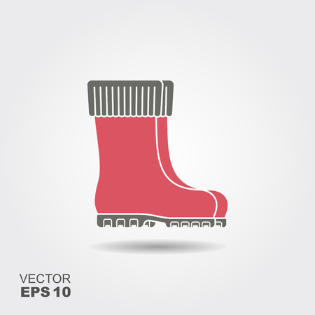 Rubber boots cart icon flat. Pictogram with shadow. Vector illustration symbol of gardening and horticulture  イラスト・ベクター素材