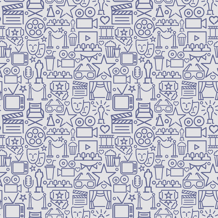 Seamless background of linear movie characters. Vector pattern Banque d'images - 125196855