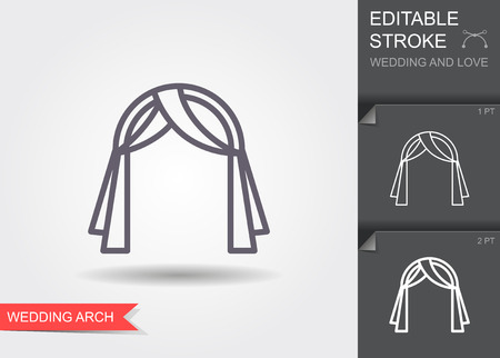 Wedding arch. Line icon with editable stroke. Linear wedding symbol