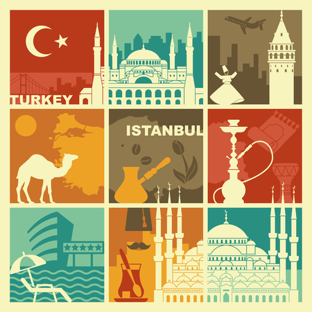 Traditional symbols of Turkey and Istanbul. Vector illustration Illustration