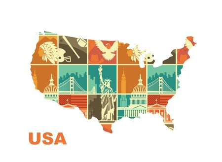 Map of the USA with Traditional symbols of architecture and culture of the USA Stock Vector - 125196859