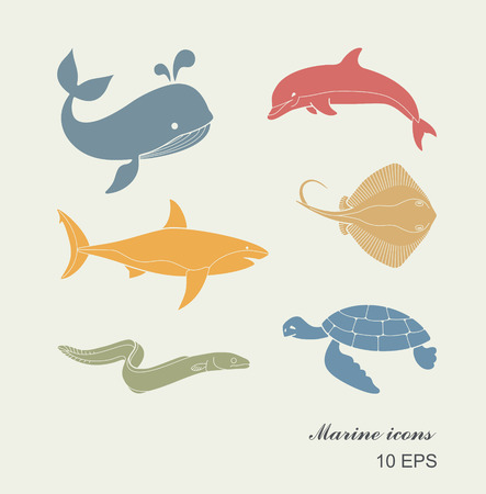 Collection of icons of sea inhabitants in flat style. Whale, Dolphin, Stingray, turtle Illustration