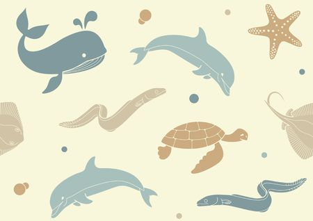 Seamless background with icons of sea inhabitants in flat style. Whale, Dolphin, starfish , turtle