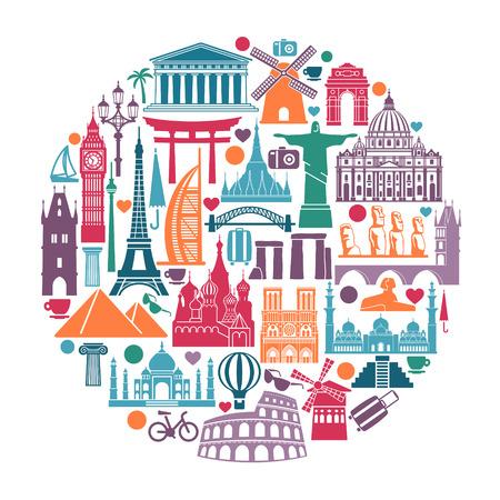 Símbolos de monumentos arquitectónicos y atracciones turísticas mundiales en forma de círculo. Ilustración de vector