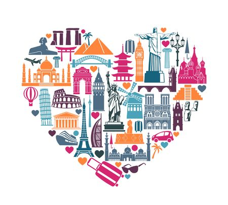 Symbols of architectural monuments and world tourist attractions in the shape of a heart Ilustração