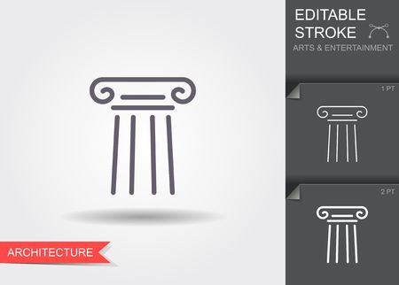 Classical column. Line icon with shadow and editable stroke Vettoriali