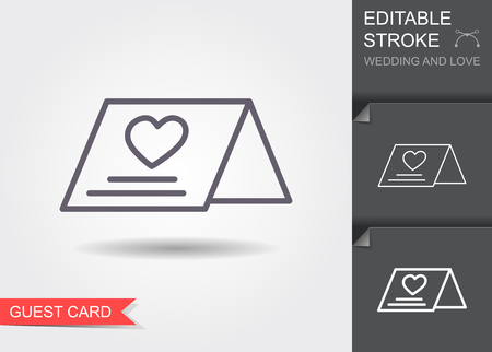 Wedding guest card. Line icon with editable stroke. Linear wedding symbol