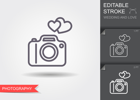 Camera with hearts. Line icon with shadow and editable stroke