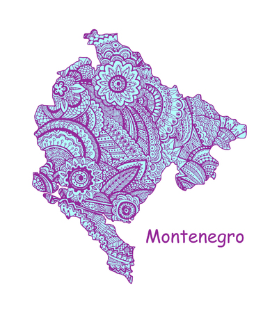 Textured vector map of Montenegro Hand drawn ethno pattern, tribal background.