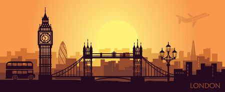 Stylized landscape of London with big Ben, tower bridge and other attractions
