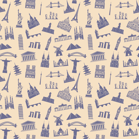 Pattern with architectural monuments and world tourist attractions