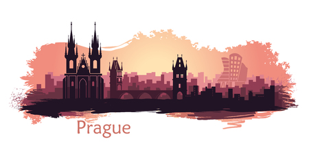 Landscape of Prague with sights. Abstract skyline at sunset with spots and splashes of paint