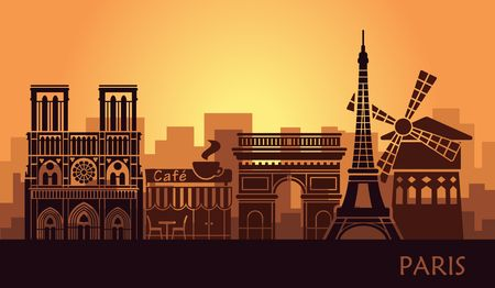 Stylized landscape of Paris with Eiffel tower, arc de Triomphe and Notre Dame Cathedral and other attractions. Abstract skyline at sunset Vectores