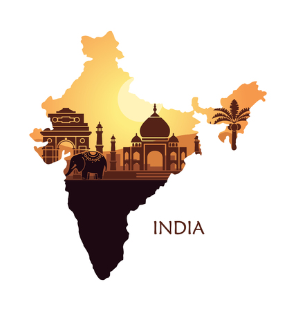 Map of India with a stylized landscape, the Taj Mahal and an elephant. Vector illustration