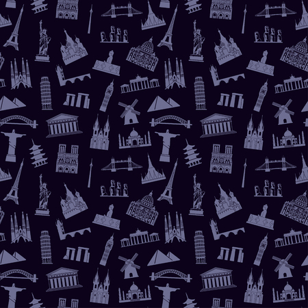 Pattern with architectural monuments and world tourist attractions Standard-Bild - 124557253
