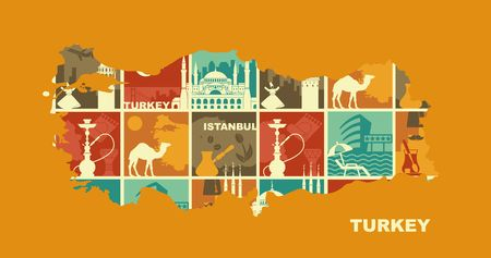 Traditional Symbols Of Turkey and Istanbul. Set of vector illustration in the form of a map of Turkey Illustration