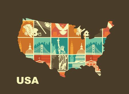 Map of the USA with Traditional symbols of architecture and culture of the USA