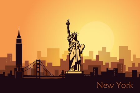 Stylized landscape of new York with the sights of the United States. Abstract skyline at dawn
