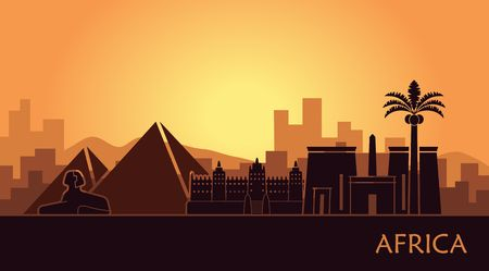 Abstract landscape with the sights of Africa at sunset Çizim