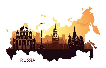 Abstract landscape of Moscow with sights at sunset. Vector illustration in the form of a map of Russia