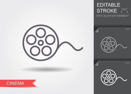 Film reel. Line icon with editable stroke Ilustração