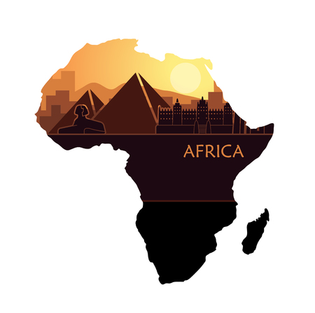 Abstract landscape with the sights of Africa at sunset. Vector illustration in the shape of a map of Africa