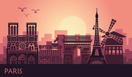 Stylized landscape of Paris with Eiffel tower, arc de Triomphe and Notre Dame Cathedral and other attractions. Abstract skyline at sunset Illustration